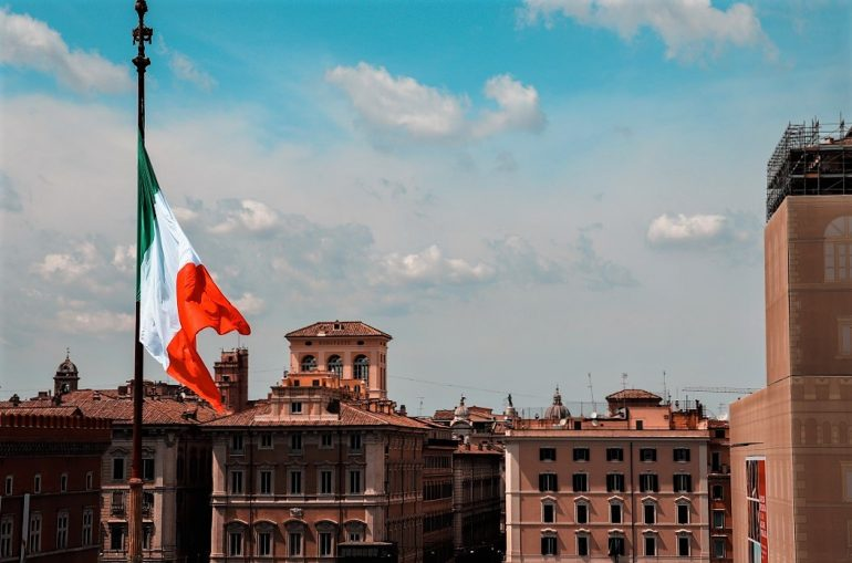 Liberation Day celebrated with the flag of Italy
