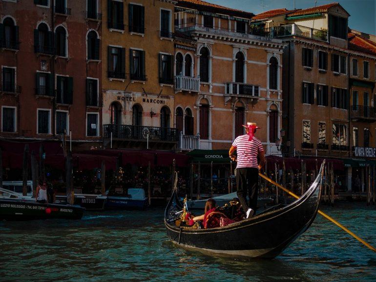 A Venetian gondolier in Venice