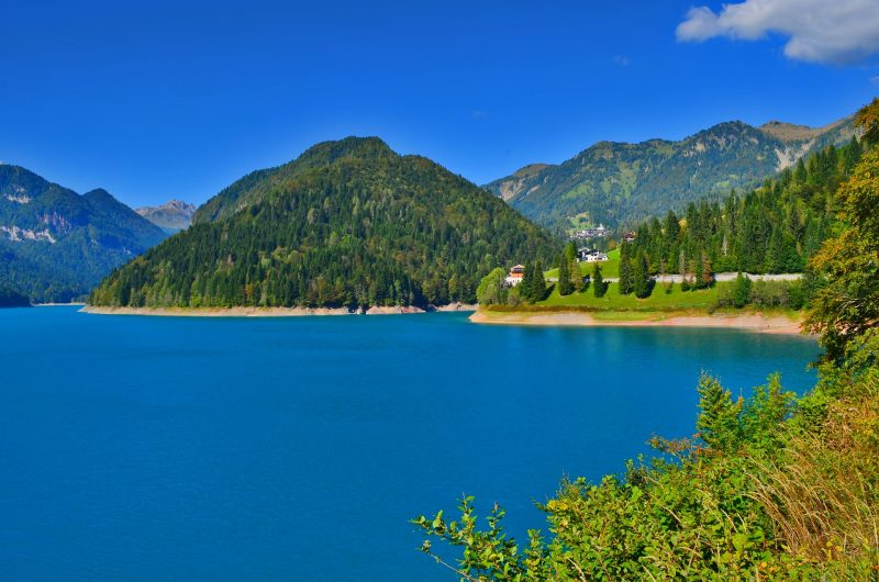 A view of Sauris Lake, hiding a town underwater.