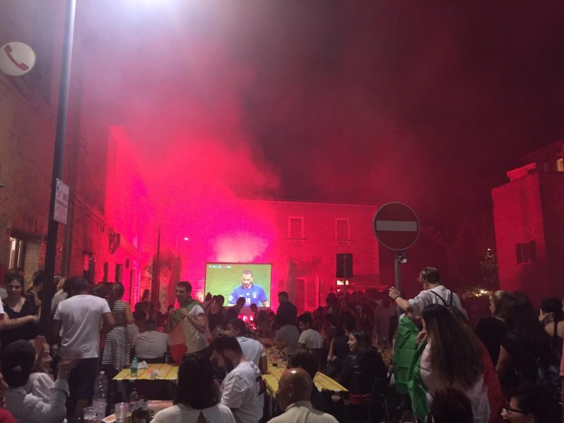 Euro 2020 match on a maxi-screen in Italy