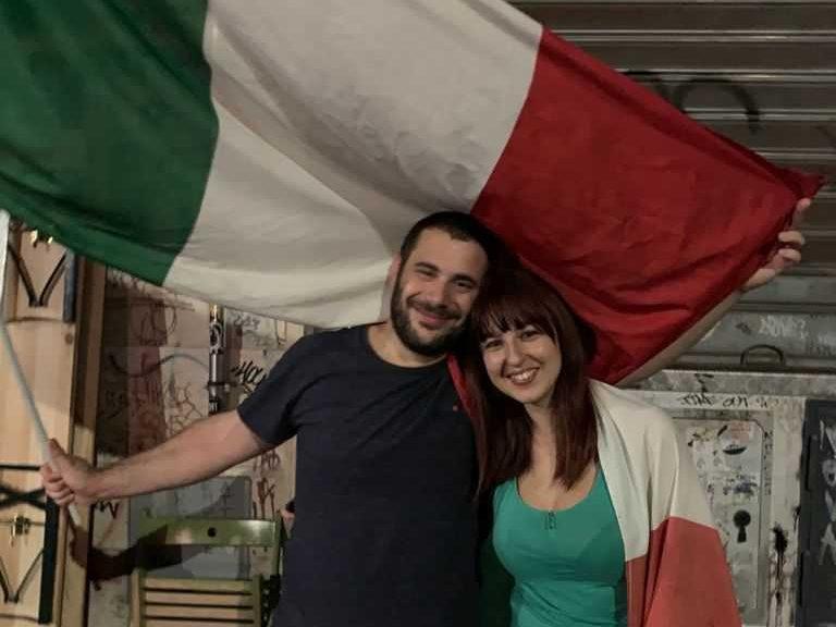Couple celebrating Italy's victory