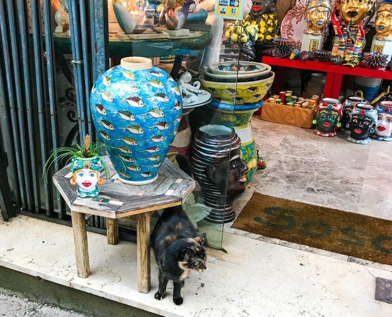 Italian ceramics store with cat